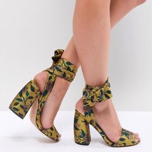 ASOS Floral Jacquard Tie Ankle Chunky Heels